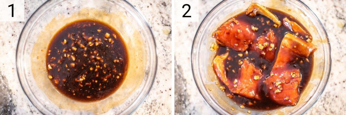 process shots of making teriyaki sauce and marinating salmon in it