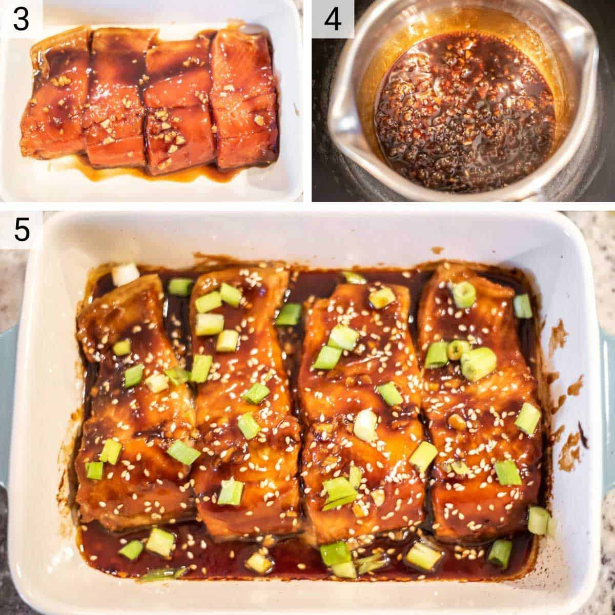 process shots of adding salmon to baking dish and baking as well as cooking down teriyaki sauce in pan