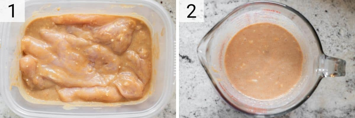 process shots of marinating chicken and preparing peanut sauce in glass measuring cup