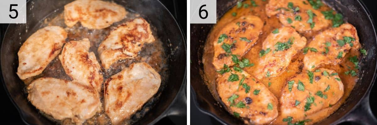 process shots of cooking chicken in skillet before adding peanut sauce