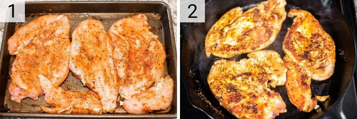process shots of rubbing chicken in spices and cooking in skillet
