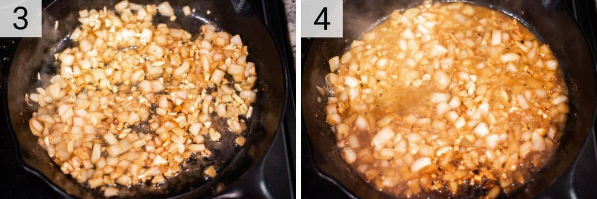 process shots of cooking onions before deglazing with wine