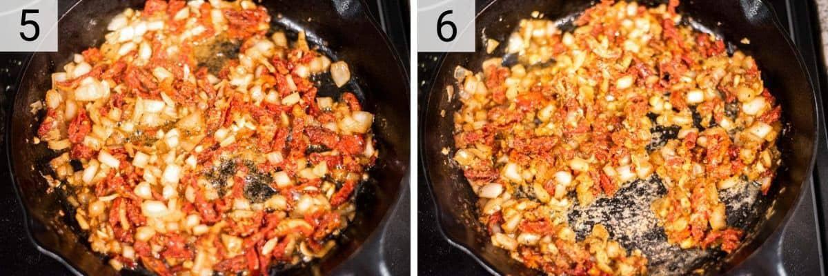 process shots of adding sun-dried tomatoes