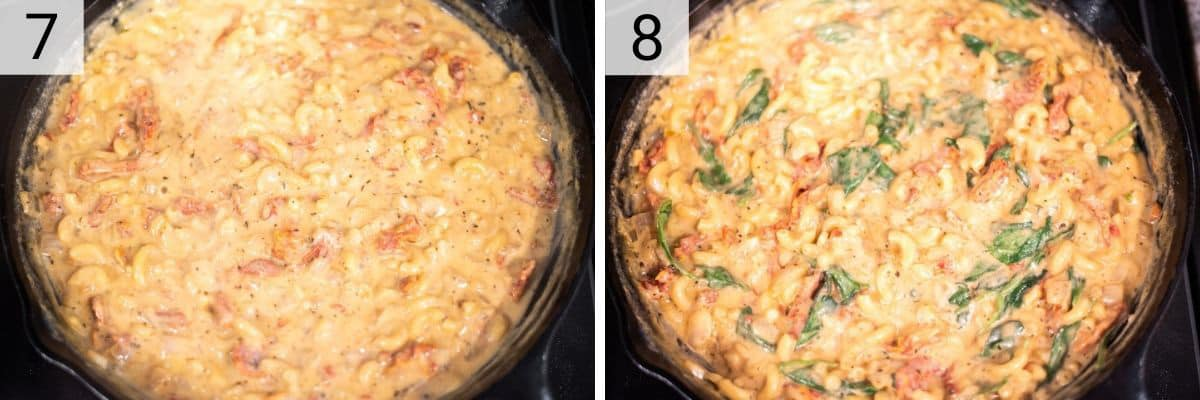 process shots of adding milk, stock and pasta and cooking before stirring in chicken, kale and cheese