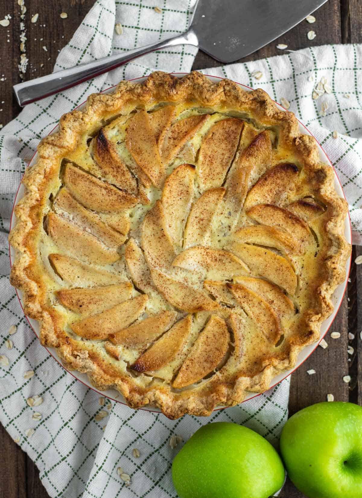 overhead shot of apple pie in pie plate