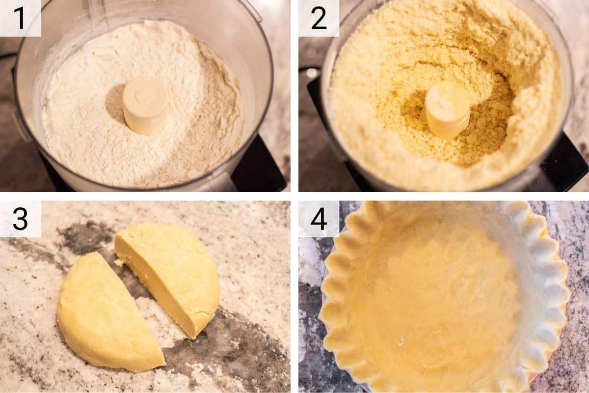 process shots of making pie dough