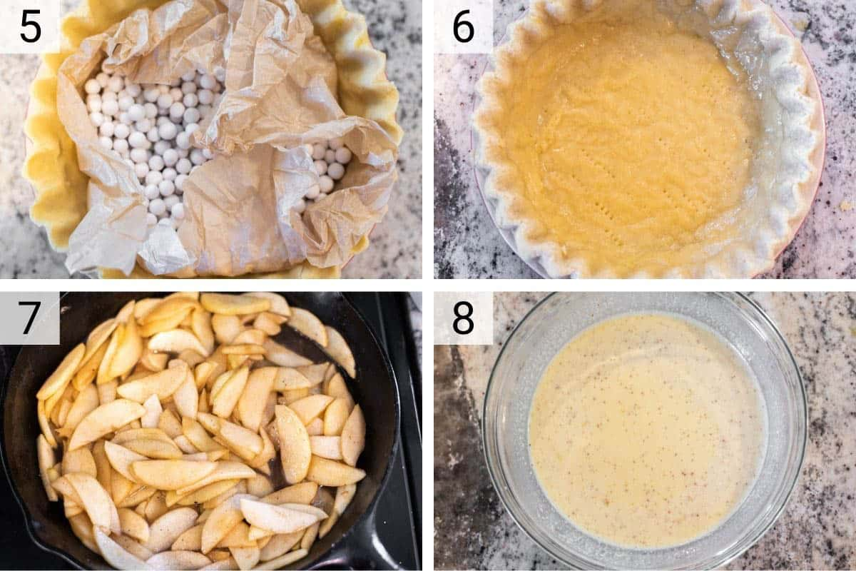 process shots of baking pie crust before cooking apples and making custard