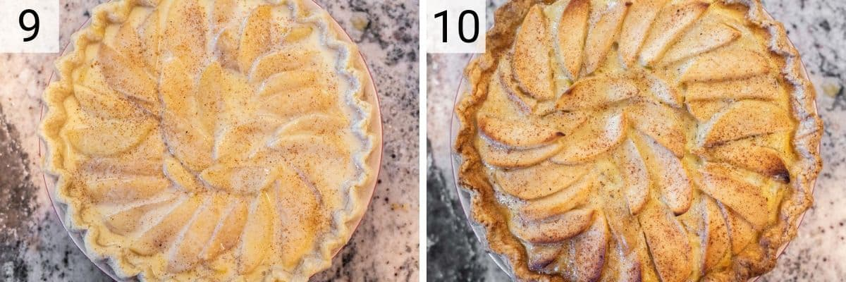 process shots of adding apples and custard to pie and baking