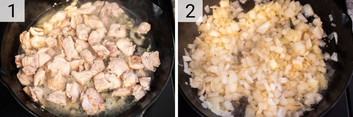 process shots of cooking chicken in skillet and then cooking onion