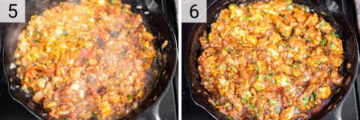 process shots of cooking tomatoes and tomato paste before adding in chicken