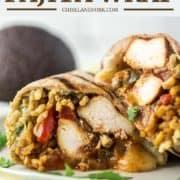 chicken fajita wrap on plate