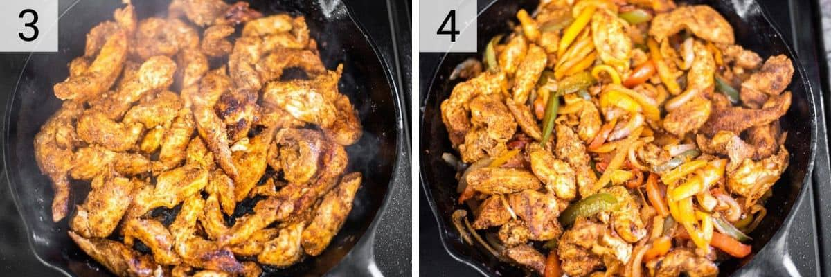 process shots of cooking chicken before adding veggies and cooking in skillet