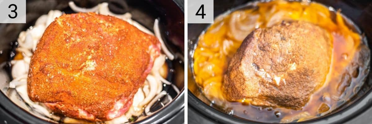 process shots of adding pork to slow cooker and cooking