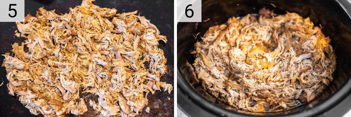 process shots of shredding pork and adding back to slow cooker with BBQ sauce
