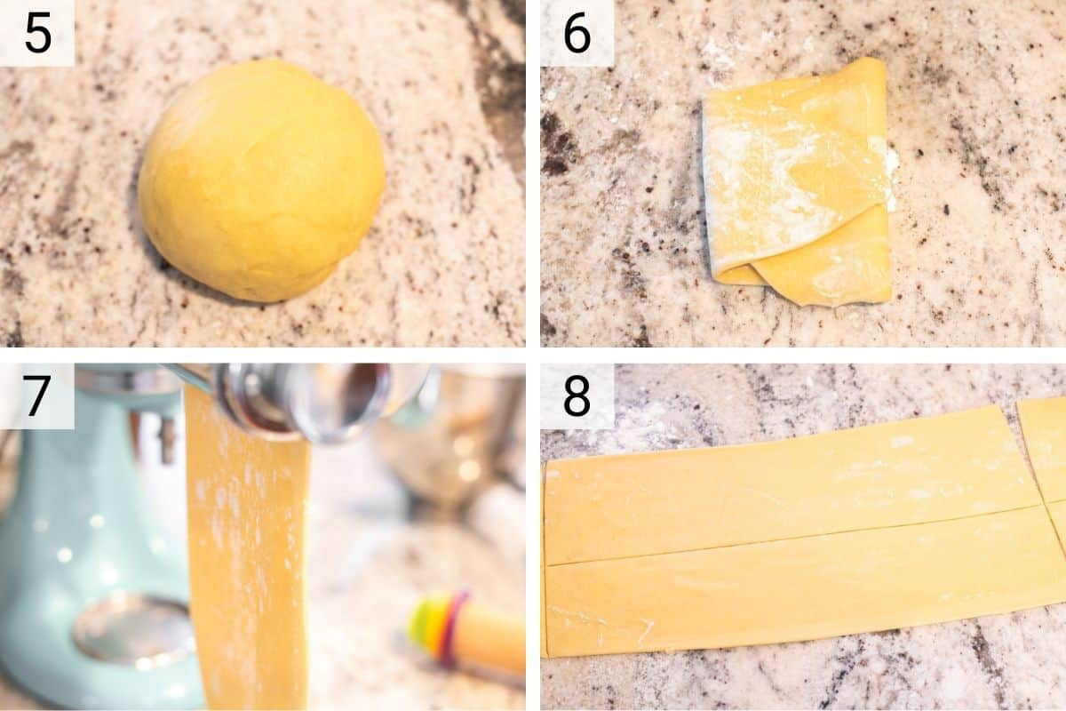 process shots of making pasta dough with pasta maker