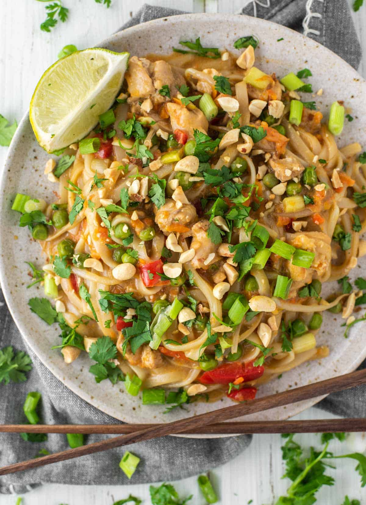 overhead shot of Pad Thai on speckled plate with chopsticks