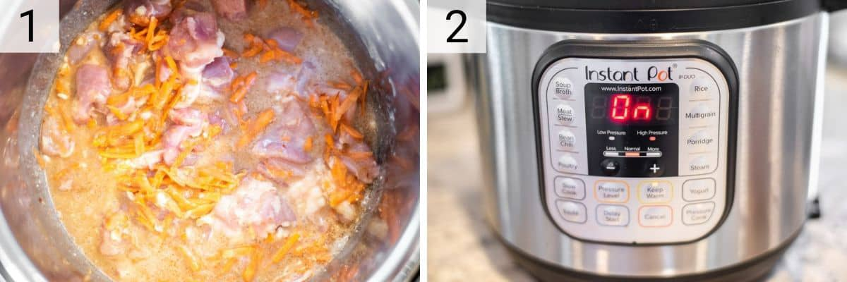 process shots of adding all of the ingredients to the Instant Pot and turning on
