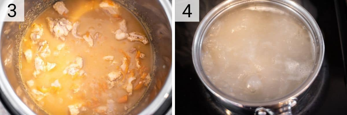 process shots of cooked Pad Thai and boiling noodles