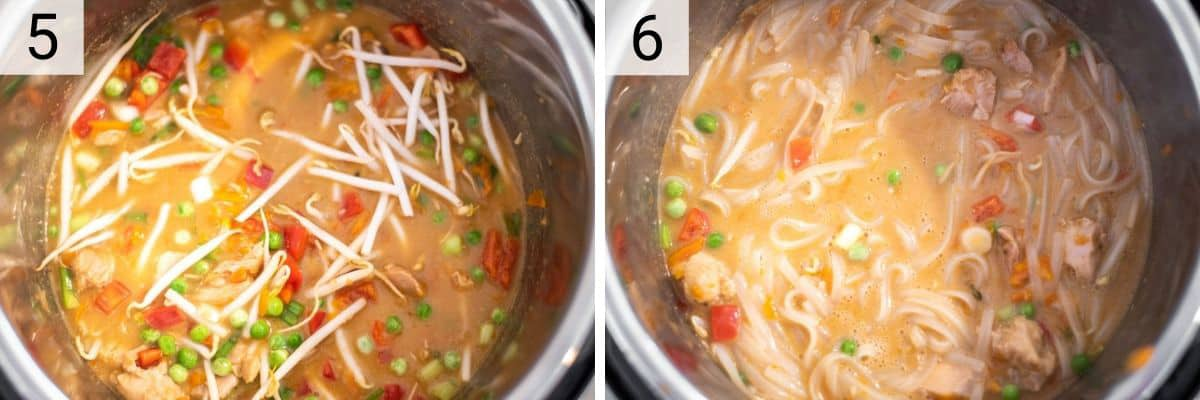 process shots of adding remaining veggies to Instant pot and stirring in noodles
