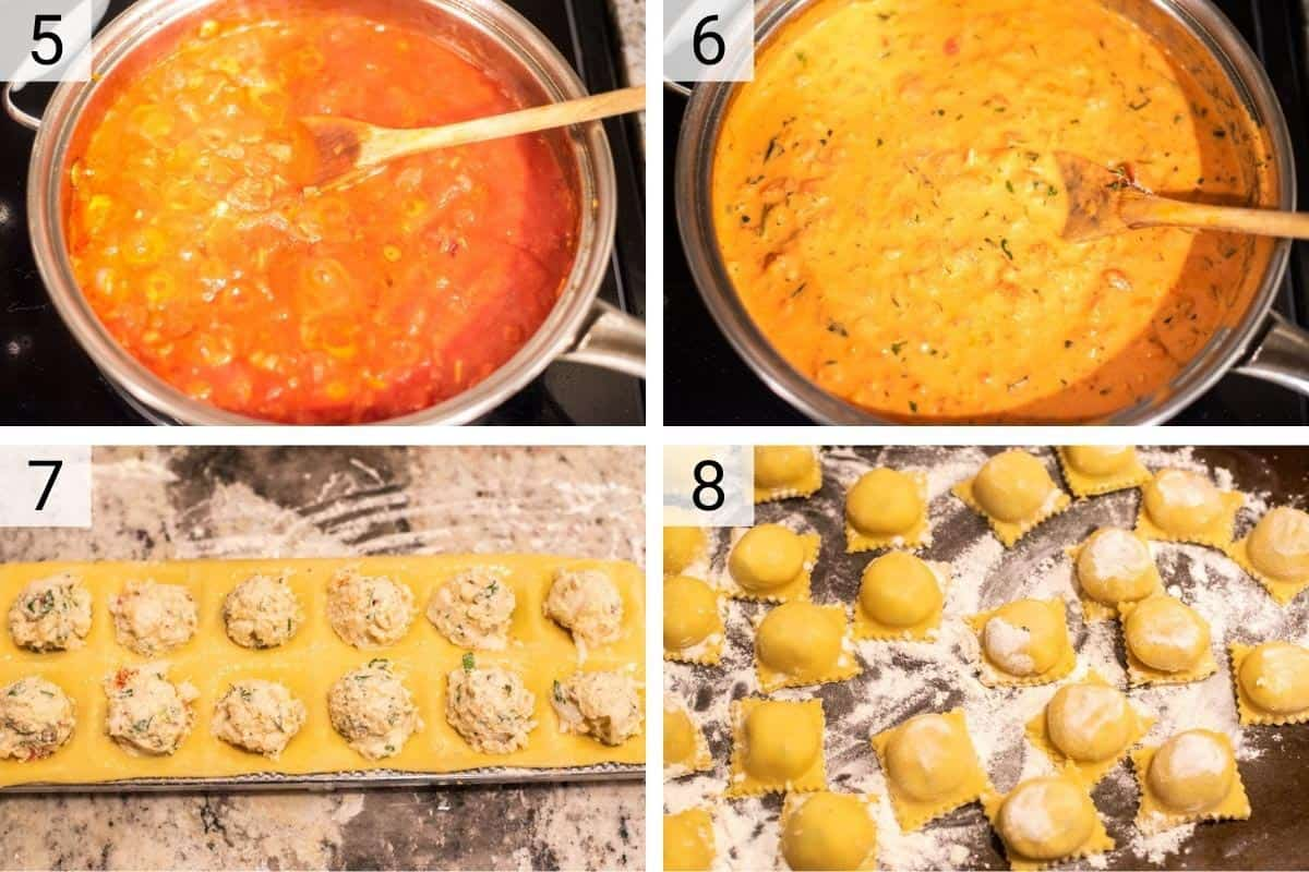process shots of making tomato cream sauce before making ravioli