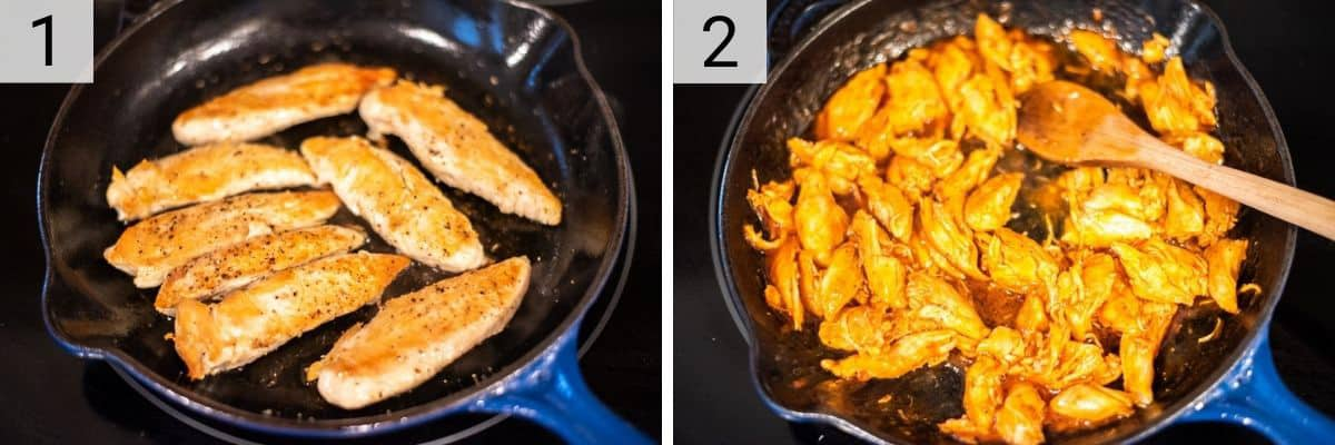 process shots of cooking chicken in skillet before adding hot sauce and butter