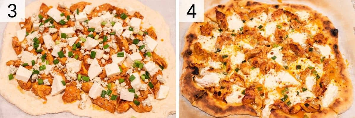 process shots of adding toppings to pizza before baking