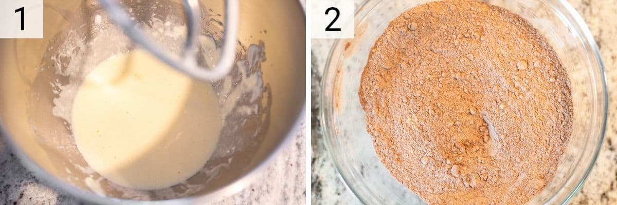 process shots of mixing wet ingredients in bowl and dry ingredients in bowl