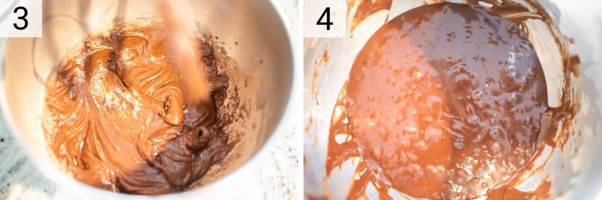 process shots of mixing ingredients in bowl before adding coffee