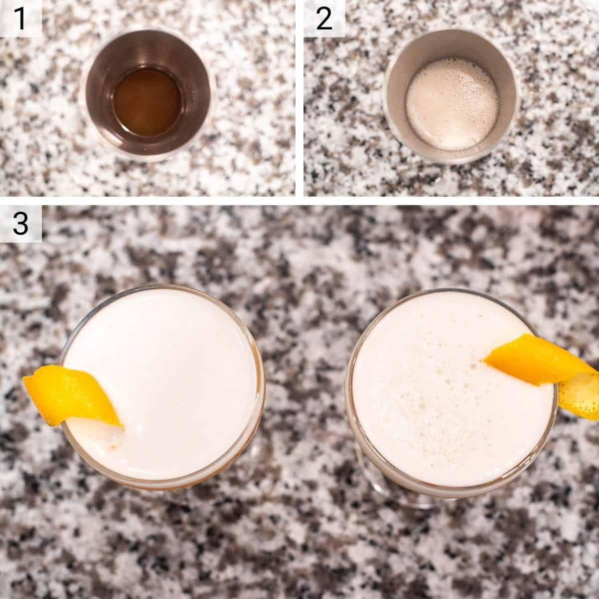 process shots of making cocktail