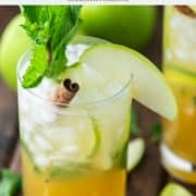 glass of apple mojito with apple, mint and lime