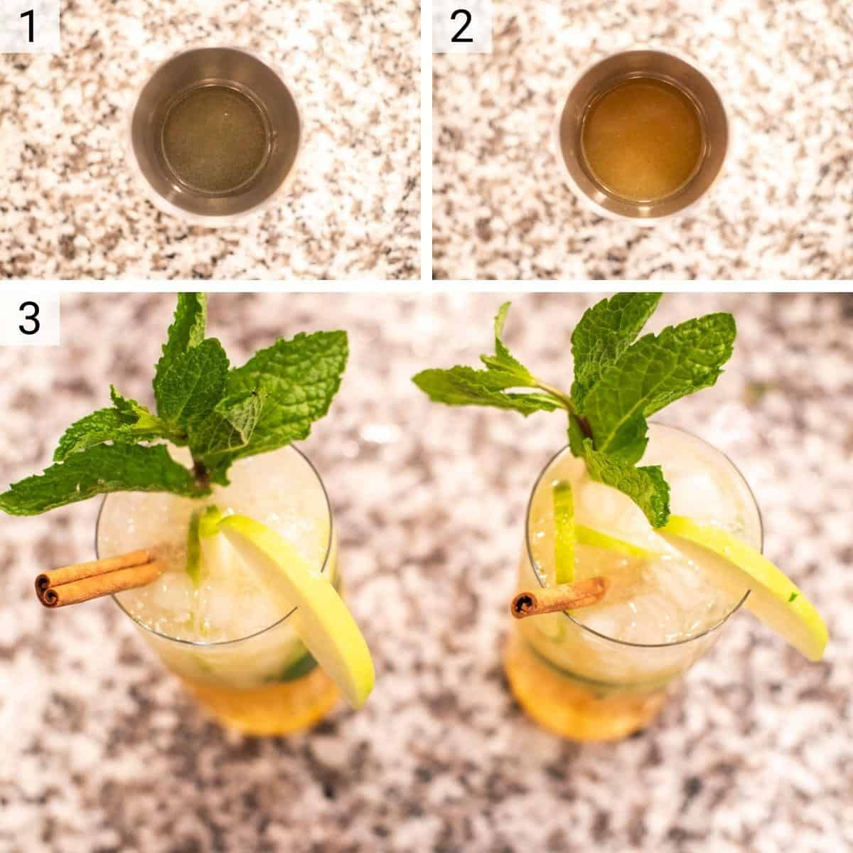 process shots of muddling cocktail ingredients before adding to glass