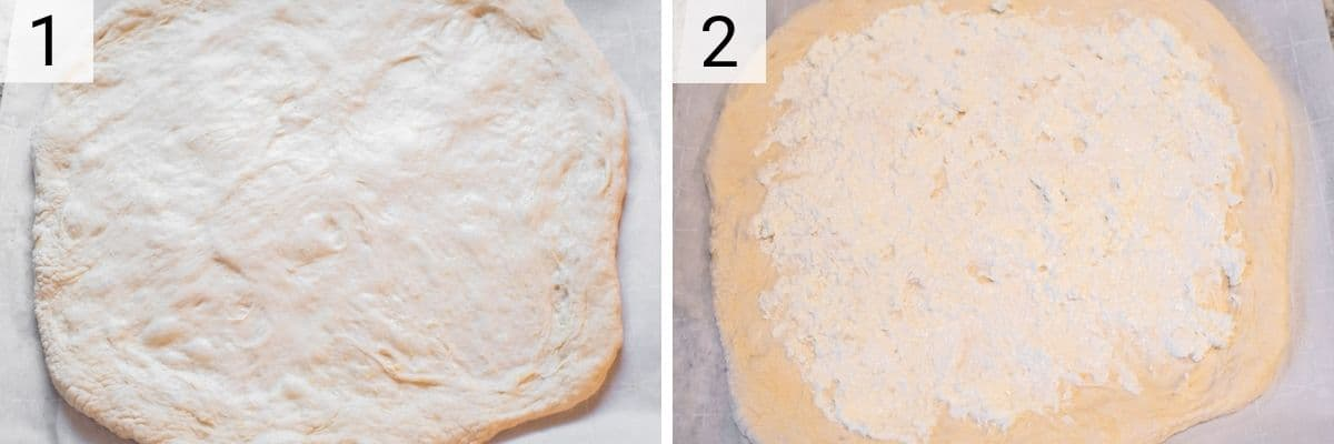 process shots of placing dough on parchment paper and spreading goat cheese and cream cheese on dough