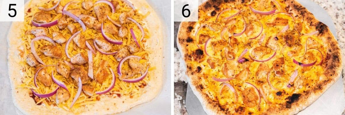 process shots of adding chicken and onions to pizza before baking