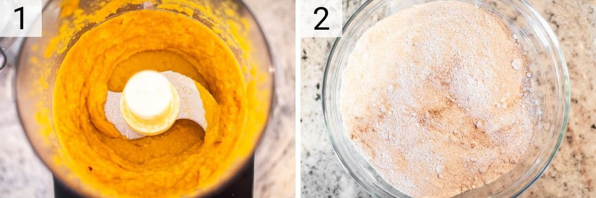 process shots of pureeing butternut squash and mixing dry ingredients in bowl