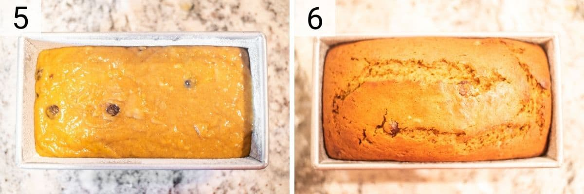 process shots of adding bread mixture to loaf pan before baking