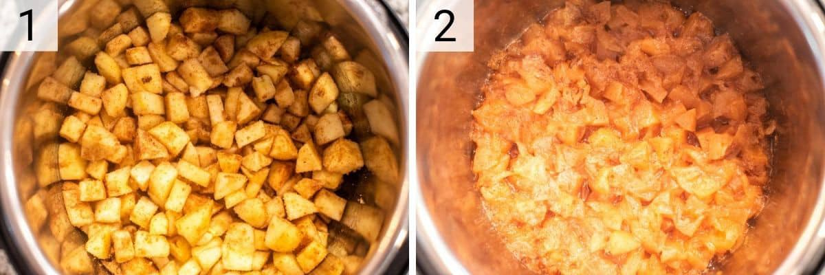 process shots of mixing apples with sugar and spices and cooking in Instant Pot