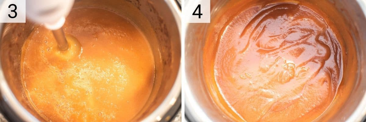 process shots of pureeing with immersion blender and sauteing in Instant Pot