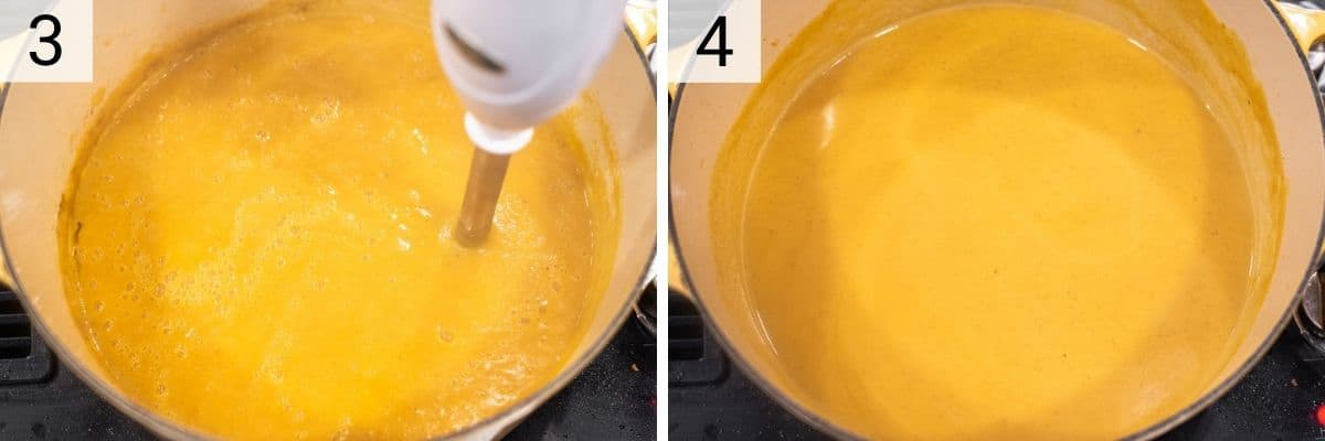 process shots of pureeing soup before adding cream and honey